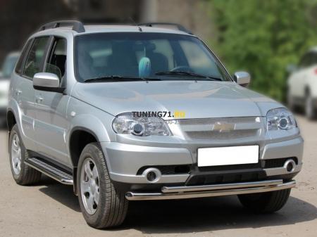 Chevrolet Niva 2009-наст.вр.-Дуга передняя низкая d-53+43 радиусная двойная
